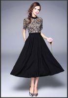 Europäisches Modedesign 2020 neue Frauen Oansatz kurze Ärmel Stickerei Spitze Blumen Patchwork Chiffon hohe Taille maxi lange Kleid plus Größe