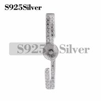 Clear Zircons 925 Sterling Silver Pendant Fitting with DIY S...