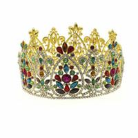 Grande regina re spettacolo corona per matrimoni diademi e corone grandi capelli fascia di cristallo strass prom partito copricapo gioielli per capelli
