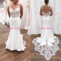 2020 Gorgeous Lace Bohemain Mermaid Beach Wedding Dresses Plus Size V Neck Backless Court Train Wedding Bridal Gowns robes de mariée