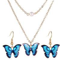 2020 Горячие Красивые бабочки Ювелирные наборы Подвеска бабочка серьги двухслойный Жемчужное Ожерелье для женщин Свадебные ювелирные изделия