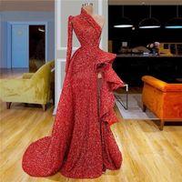 2020 Sparkling Red One Shoulder Sequins alta Dividir Prom Vestidos manga comprida Ruffles Ruched A Linha de trem da varredura formal do partido vestidos de noite