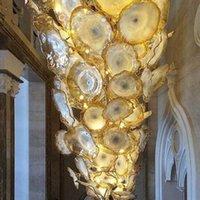 Лестница роскошный золотой цветок люстра свет LED экономия света Источник муранского стекла пластины искусства люстра лампы арабский хрустальная люстра