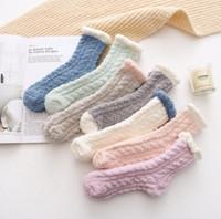 Toptan Spor Çorap Lady Kış Sıcak Kabarık Mercan Kadife Kalın Havlu Çorap Şeker Yetişkin Zemin Uyku Bulanık Çorap Kadın Kız Çorap Y0001