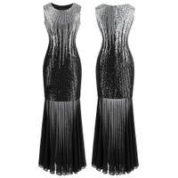 Angel-Fashions Femmes Classique Silver Black Sequins Transparent Tulle Maxi Gaine Cocktail Cocktail Robe de soirée Vintage Partie 458