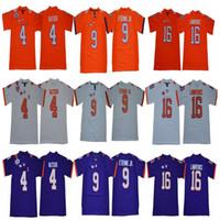 NCAA Men Clemson Tigers 16 Trevor Lawrence 4 Deshaun Watson 9 Travis Etienne Jr. 7 Austin Bryant Roxo Laranja Branco Football Jersey