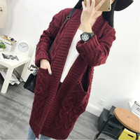 winter new style thickening medium long knitted sweater coat...