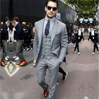 Мода на заказ серый мужской костюм три штуки Slim Fit Groom носить свадебные костюмы Лучшие мужские деловые костюмы