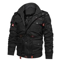 Männer Jacke Thick beiläufige Baumwolle Winter-Military-Jacke Herren-Oberbekleidung Fleece mit Kapuze Mantel mit Multi-Taschen
