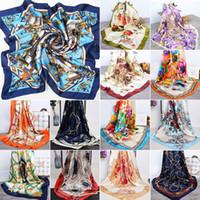 패션 여성 우아한 스카프 새틴 빈티지 모조 실크 스퀘어 프린트 스카프 스퀘어 스카프 대형 hijab 스카프 90 * 90cm