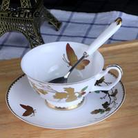 Copo de café conjuntos de compras porcelana xícaras de chá e saucers ouro inlay xícara de café de cerâmica conjunto de aniversário presente