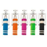 Acero inoxidable 14-60cm colorido mini portátil extensible selfie palillo de conexión de cable de obturador alejado Monopod para todas las marcas del teléfono celular