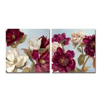 DYC 10061 2PCS Arte de impresión de flores rojas listo para colgar pinturas