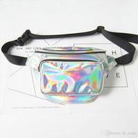 DHL Neue Frauen metallisches Silber Fanny Hüfttasche Brust Pack Glitzern Festival Hologramm Geldbeutel Reisetasche 5colors Größe 18 * 30 * 7cm