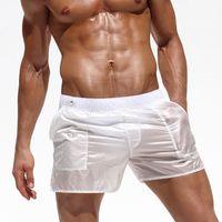 2019 uomini alla moda Shorts trasparente sexy dei pugili degli uomini della spiaggia di shorts boardshorts elastico in vita Vedere attraverso Trunks abbigliamento sotto