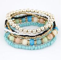 Bohemio de Múltiples Capas de Color Caramelo Beads Pulsera Brazaletes Para Las Mujeres Elástico Stretch Boho Joyería 6 Estilos Soporte envío gratis