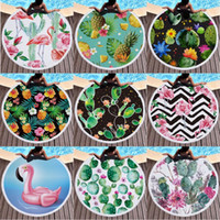Microfiber Cactus Printed Round Beach Towels with tassel fla...