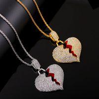 Chains congelado para fora quebrados encanto do amor Bling Cristal Rhinestone Ouro Prata Cadeia Twisted do coração colares Men Pendant por Mulheres Hip Hop Jewelry