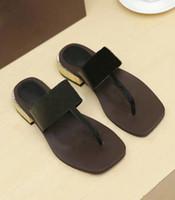 Designer Schuhe Frauen Casual Slipper 100% Echtes Leder Flip Flops Sandalen Sommer Slides Hausschuhe Metallkette Hausschuhe SZ 5 - 11