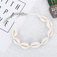 Vsco Puka Shell Fußkettchen für Vsco Mädchen gewebt natürliche Muscheln Hawaiian Style Casual Hand Ornament Strand Muschel Fußkettchen
