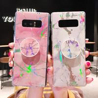 Cubierta de TPU con gas sostenedor del soporte de mármol del caso para Samsung Galaxy S20 S10 FE Lite S9 Plus Ultra 20 Nota Huawei P20 P30 Pro