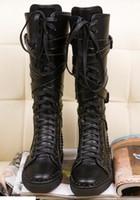 Hot Sale-Items! Mens nero genuino stivali sportivi in pelle uomo fresco piatto fondo rosso sportivo Amico cerniera piatto con chiodi, stivali al ginocchio fibbia per l'uomo
