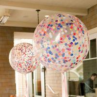 Düğün Doğum Halloween Party Dekorasyon Balonlar 8 Renk HHA943 için 36inch Konfeti Pullu Balonlar Temizle Lateks Balon