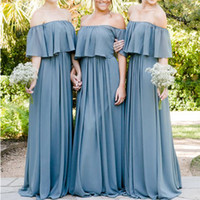 Cheap Bridesmaid Dresses Off the Shoulder A Line Ruffle Floor Length Long Maid of Honor Dresses Gowns