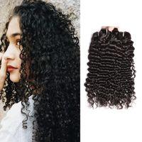 Dantel Kapatma ve Frontal Modern göster Perulu Derin Dalga İnsan Saç Paketler Kıvırcık Dalga Brezilyalı İnsan saç örgüleri