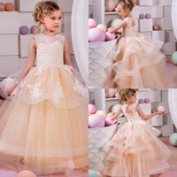 New Arrival Jewel Tiered Tulle Girls Pageant Dresses Lace Ap...