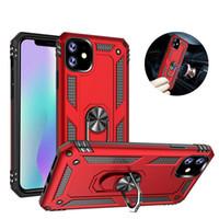 iPhone 11Pro Max XS Xr X 8 Artı Samsung Note10 S10 Manyetik Standable PC Zırh Sert Arka Kapak İçin Halka Tutucu Telefon Kılıfı