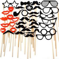38 PC / Set Fun Booth Props Occhiali Moustache Lip Decorazione per feste di compleanno Compleanni di Capodanno