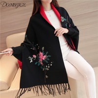 Autumn and winter women' s 2019 new peony embroidery loo...