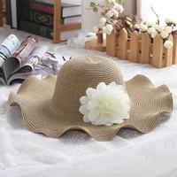 Damenstrand Strohhüte Sonnenhut Frauen Wide Krempe Strohhüte Outdoor Panama Sonnencreme Hüte Kirche Blume Mütze Ljja3717