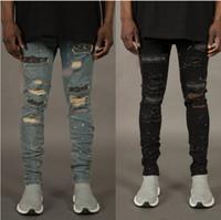 Herbst Mode Jeans für Männer mit gebrochenen Löcher Designer Zipper Jeans Skateboard Bleistift Biker Denim Hose