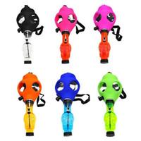 Maschera antigas più nuova Bong Silicone Silicone Tubo di acqua Skull Mask Pipes con occhiali da sole Impianti di petrolio Bruciatore Multifounctions Smoking DAB Rig Maschera Narghilè Kit