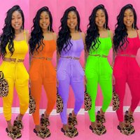 Womens Sommer-Kleidung Mode 2 Zwei Stück Outfits Sets Kordelzug Weste Crop Top Pocket Hosen Trainingsanzüge Anzüge Streetwear Plus Size Kleidung