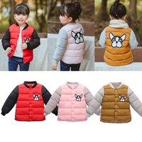 Детской зима теплых вниз пальто Малышей девушка собака печати хлопок ватник Baby Boy Толстые Outwear 3-8 года