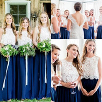 Robe de demoiselle d'honneur deux pièces robe bleue royale avec dentelle séparer Top 2020 pleine longueur pays bohème junior demoiselle d'honneur robe de soirée de mariage