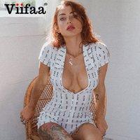 Viifaa Zipper Front НЕТ BRA CLUB Письмо Печать Женщины Sexy Rompers воротник отложной Белый Тощий партии Летний костюм для подвижных игр