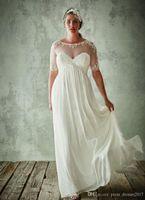 패션 플러스 사이즈 웨딩 드레스 반 슬리브 깎아 지른 보석 목 라인 레이스 아첨하는 신부 가운시 폰 제국 허리 웨딩 드레스