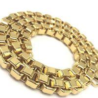 Usenset New Mäns Rostfritt stål 18 K guldpläterad Big Box Link Kedja Halsband Högkvalitativa Charm Smycken