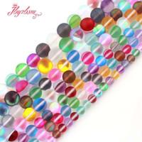 """6,8,10,12mm Rodada Geada Matte várias cores Moonstone Stone Beads para DIY dom colar de jóias pulseiras Fazer 15"""" Frete Grátis"""
