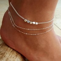 Crystal Small cube Anklet Set For Women Multilayer Beach Foot jewelry Vintage Statement Anklets Boho Style Party Summer Jewelry