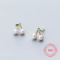 Wholesale 925 Sterling Silver Fruit Cherry Stud Earrings For...