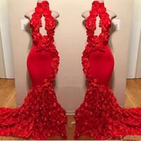 Kırmızı Yüksek Boyun Gelinlik Modelleri Seksi El Yapımı Çiçekler Mermaid Abiye giyim Sayısı Tren Siyah Kızlar Afrika Resmi Giyim Backless Parti Elbise