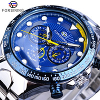 Forsining Blue Mens Watches Sport Steel Band 3 Sub Dial Date...