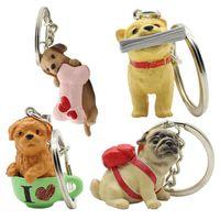 4pcs / lot 3d encantos amantes do cão cão de estimação animal Chaveiro Saco Chaveiros Moda de jóias titular Cadeia New Key Ring Key