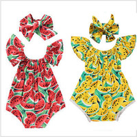 Baby Girl Summer Romperers Infant Casual Tutasuit + Bow Fandbands 2pcs / Set Anguria Stampa Playsuit Abbigliamento Abbigliamento Abbigliamento Volo Maniche Abiti M1780