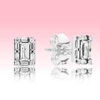 Новые сверкающие квадратные Halo STED Серьги Летние Ювелирные Изделия для Pandora 925 Серебряный розовый Золотой CZ Diamond Серьги для женщин с оригинальной коробкой